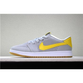 8b845a8e81b0f2 New Air Jordan 1 Low Flyknit Wolf Grey Yellow-Gum Men s Basketball Shoes